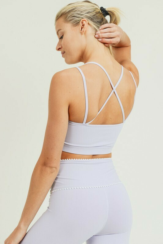 Micro Scallop Lace Trim Cross Back Sports Bra