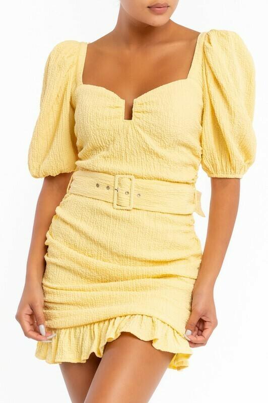 Brandy Puff Sleeve Scrunch Dress