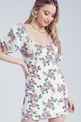 Flower Print Sweetheart Dress