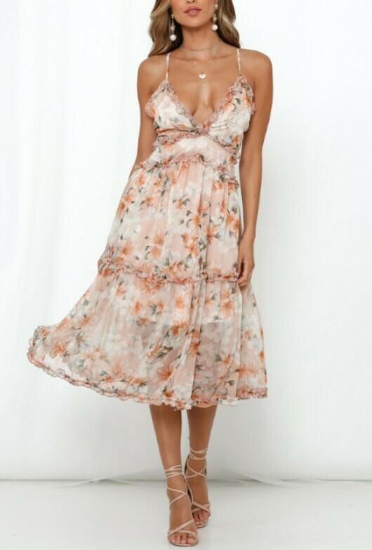 Hazel Floral Print Midi Dress