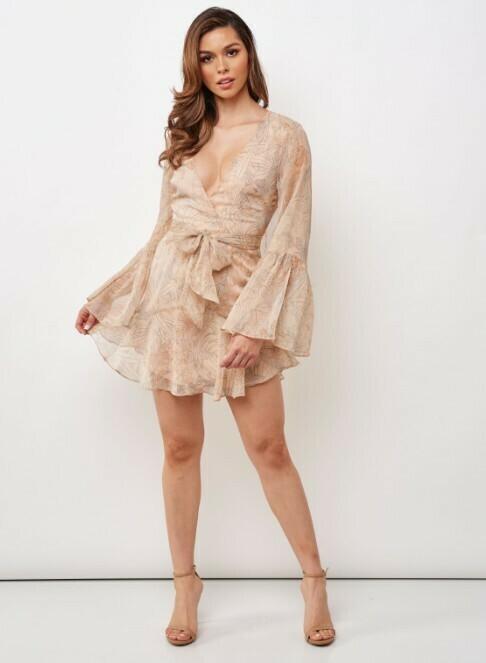 Printed Bell Sleeve Dress