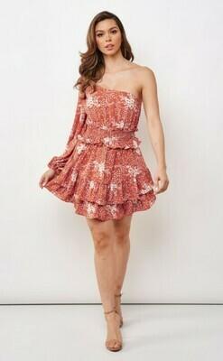 One Shoulder Floral Smocked Dress