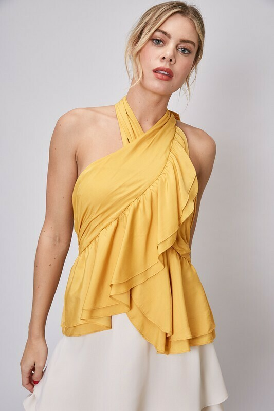 Halter Sleeveless Ruffle Top