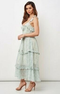 Printed Chiffon Ruffle Maxi Dress