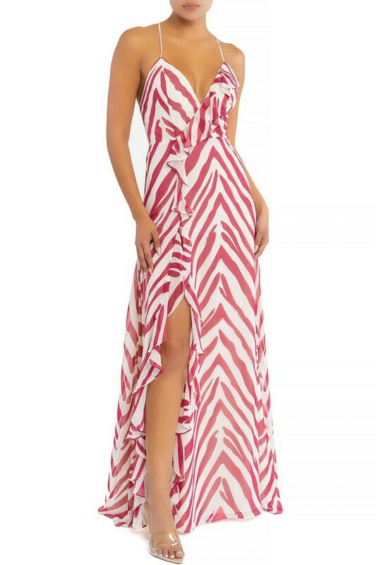 Zebra Slit Maxi Dress