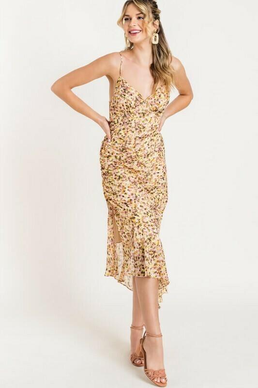 Nora Asymmetrical Floral Slit Dress