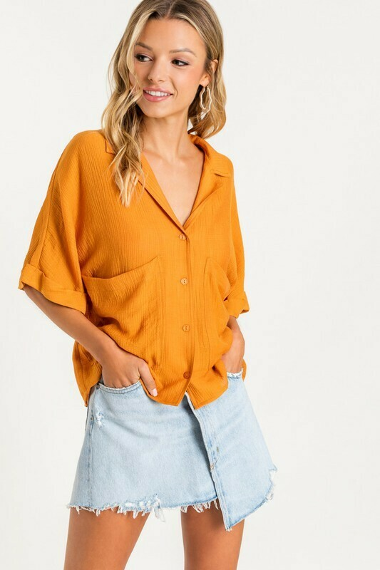 Slouchy Button Down Top