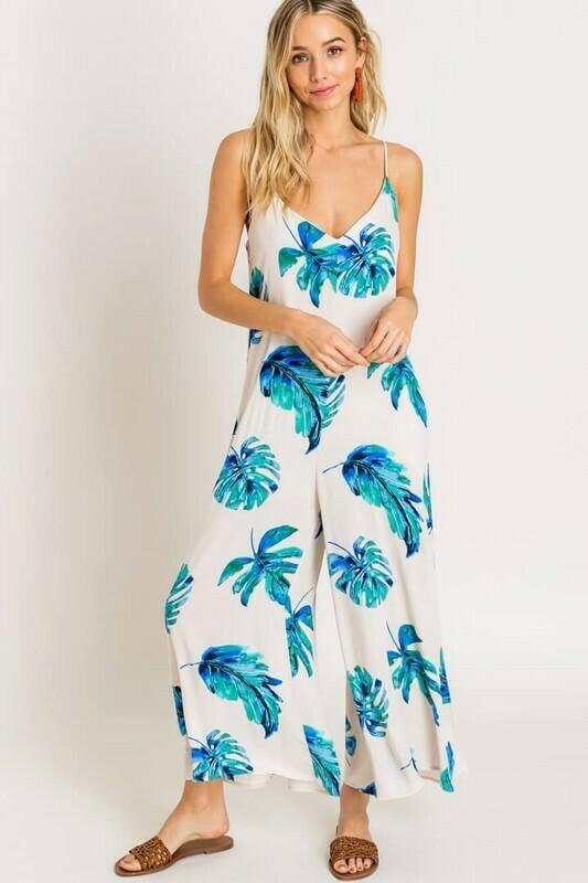 Bailey Blue Palm Jumpsuit