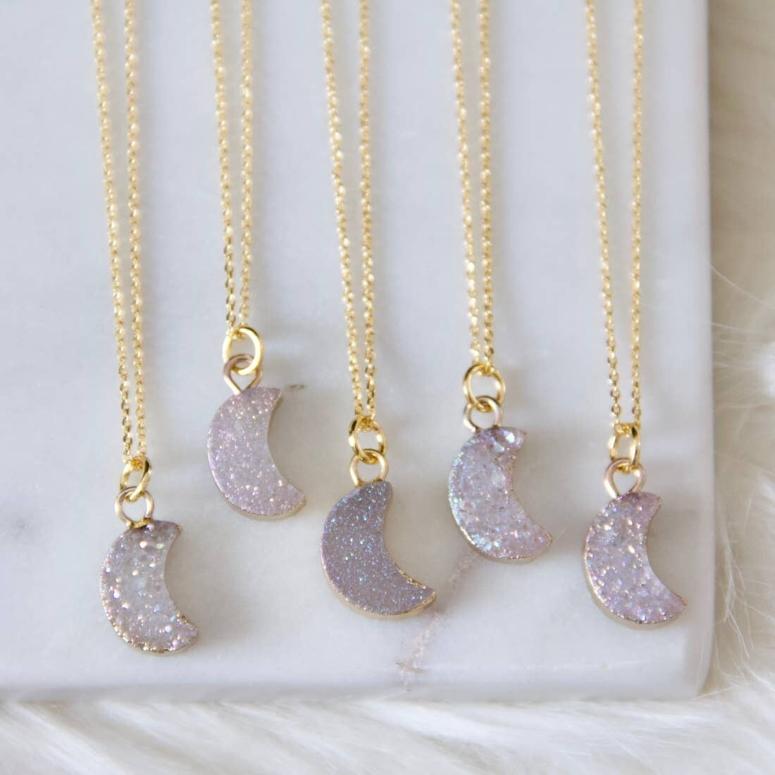 Tiny Moon Druzy Necklace 16 inches