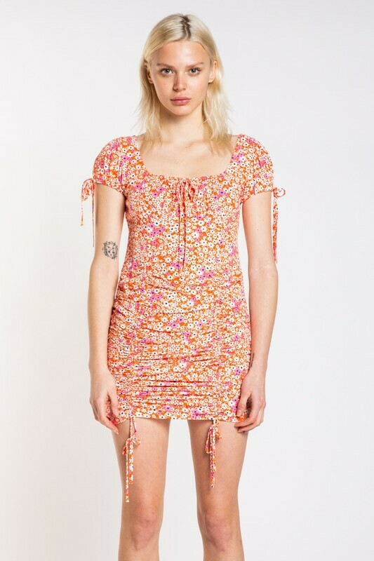 Floral Print Front Tie Mini Dress