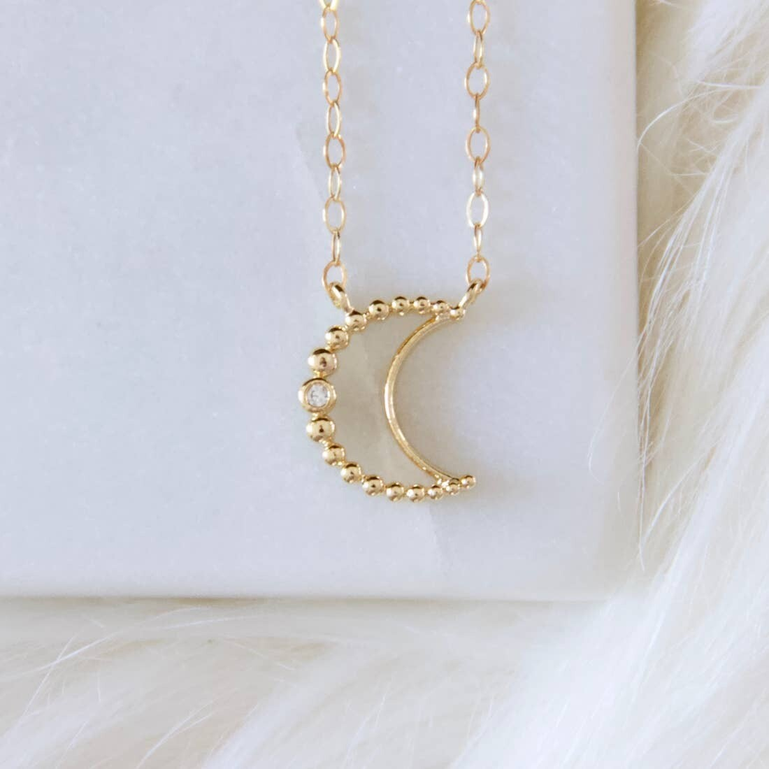 Small CZ Crescent Necklace - Gold