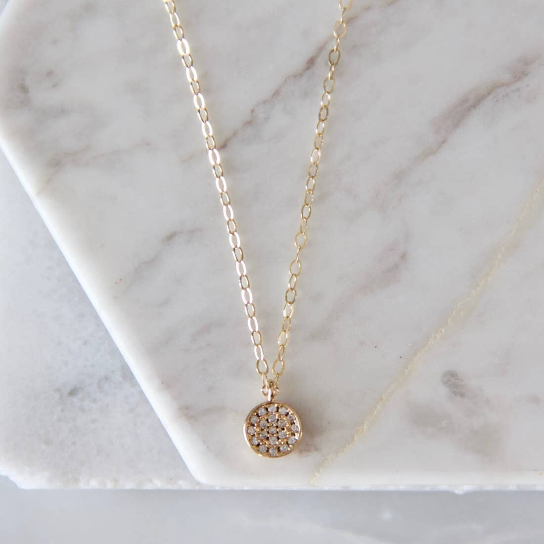 Zircon Coin Necklace