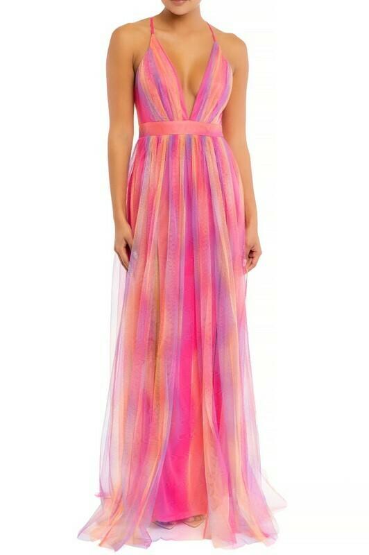 Rainbow Multi Mesh Maxi Dress