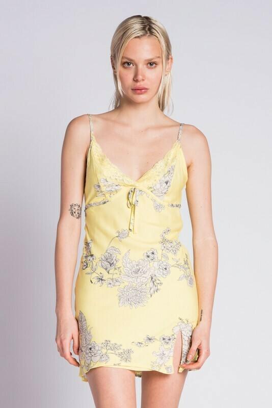 Floral Print Slit Mini Dress