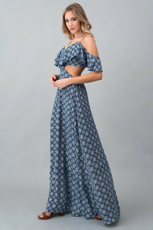 Side Slit Paisley Maxi Dress