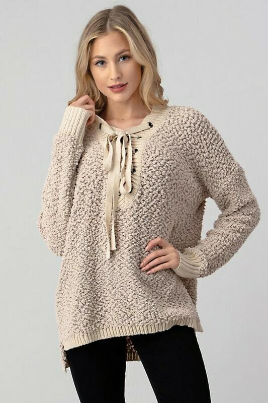 Lace Up Popcorn Sweater