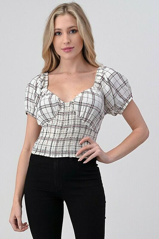 Checkered Smocked Lolita Top