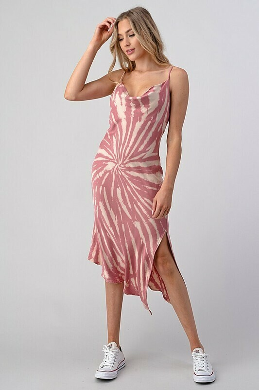 Tie Dye Cowl Neck Dress