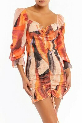 Rosy Abstract Scrunch Dress