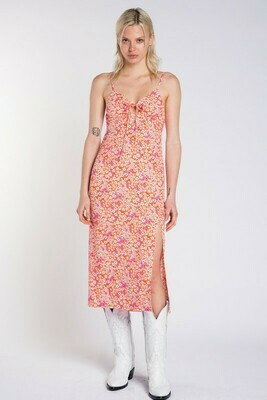 Floral Print Slit Midi Dress