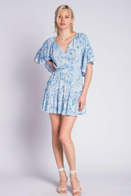 Boho Ruffle Down Mini Dress