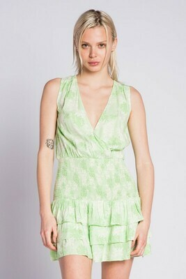 V-Neck Smocked Tropical Dress