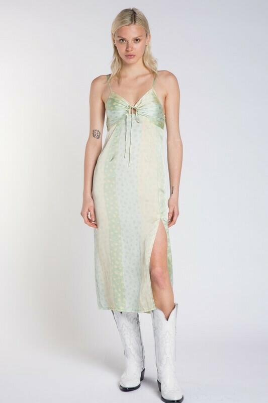 Polka Dot Satin Slit Midi Dress