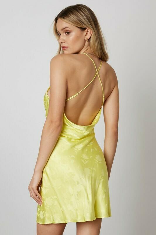 Satin Cowl Neck Floral Dress