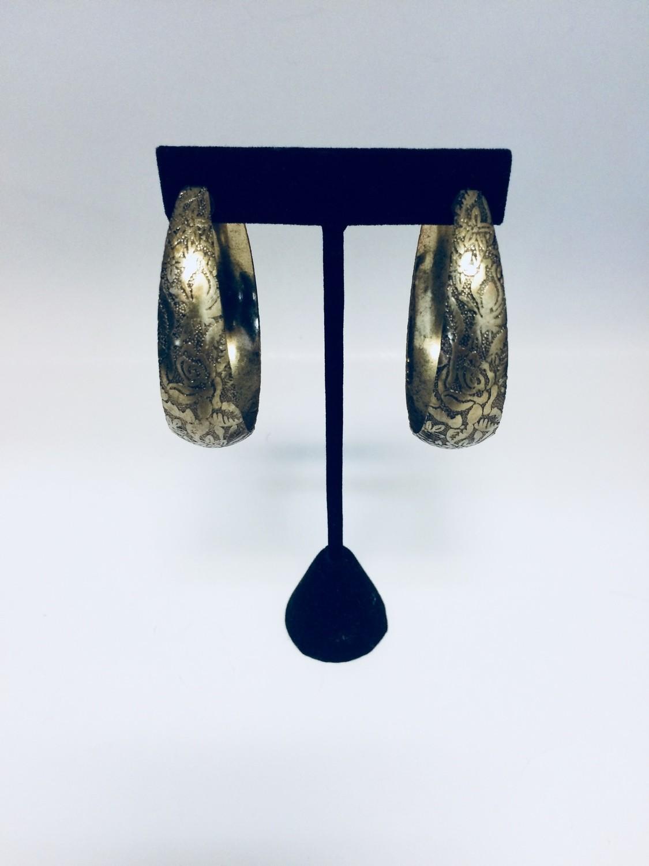 Brass Floral Hoop Earrings