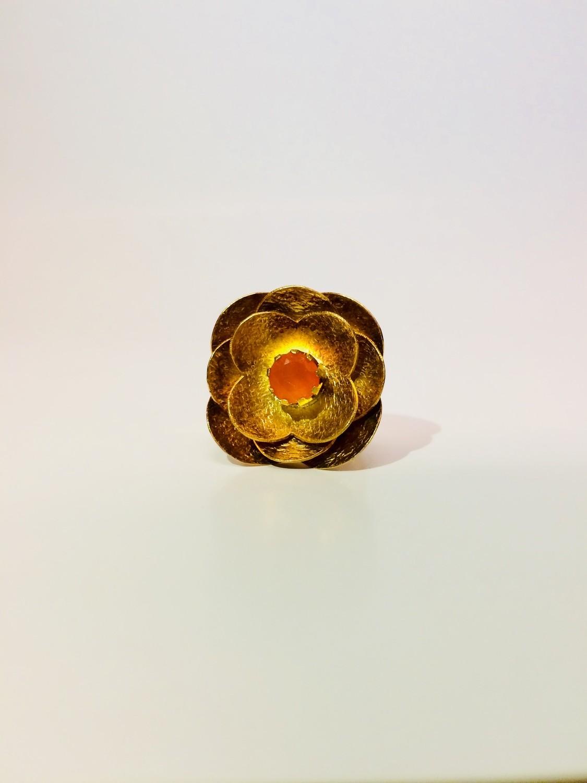 14 Katat Gold Plated Carnelian Flower Ring