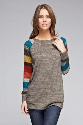 Sweater With Stripe Contrast Sleeves