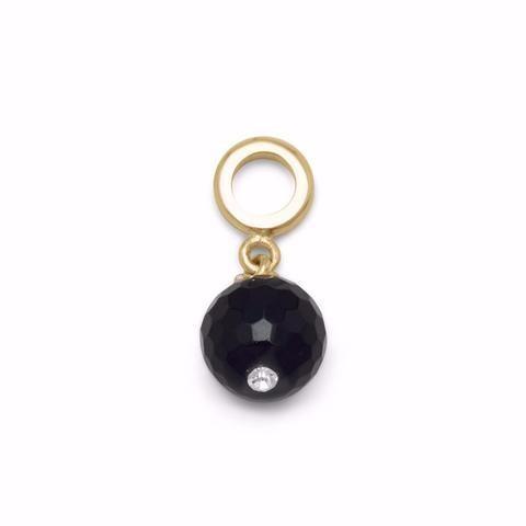 14 Karat Gold Plated Black Onyx Charm Bead
