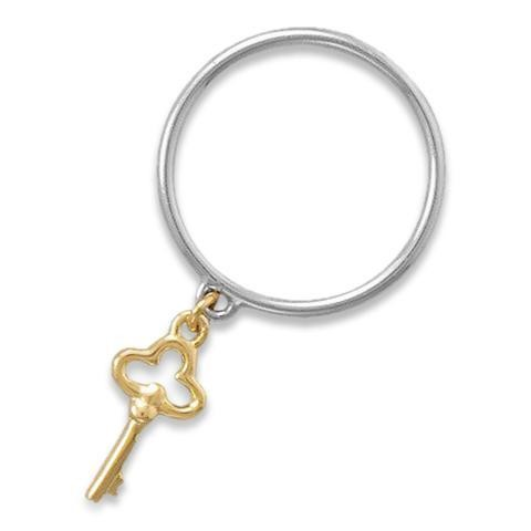Silver Band Two Tone Key Charm Ring