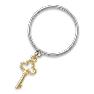 Silver Band Two Tone Key Charm Ring