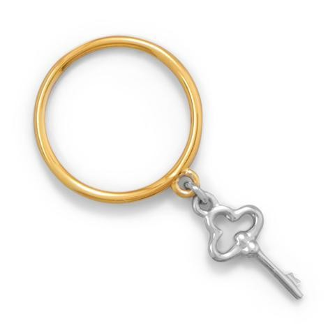 Gold Band Two Tone Key Charm Ring