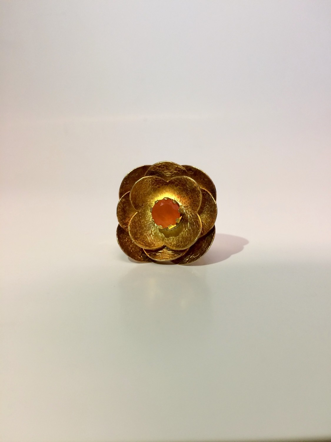 14 K Gold Plated Carnelian Flower Ring
