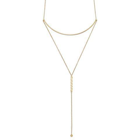 14 Karat GP Long Bar Drop Necklace