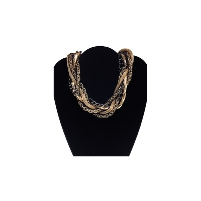 Gold, Black, Mesh, Chain Necklace