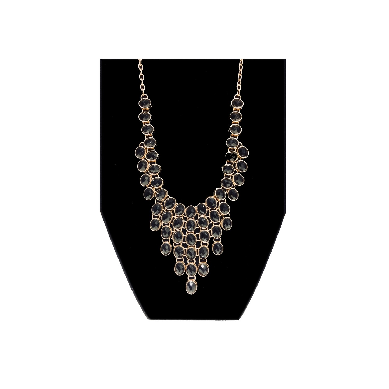 Black Ovals Bib Necklace