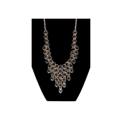 Black Ovals Bib Necklace