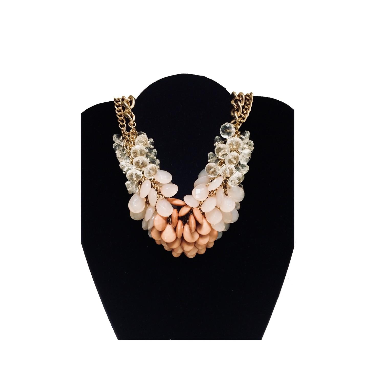 Ligth Pink Brown Bead Bib Necklace