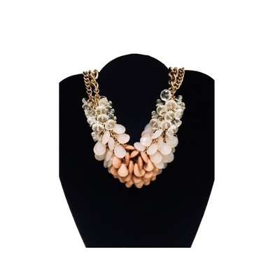 Ligth Pink Brown Bead Bib Necklace