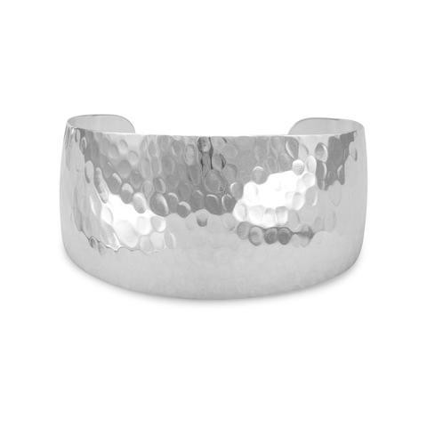 Silver Brass Hammered Cuff