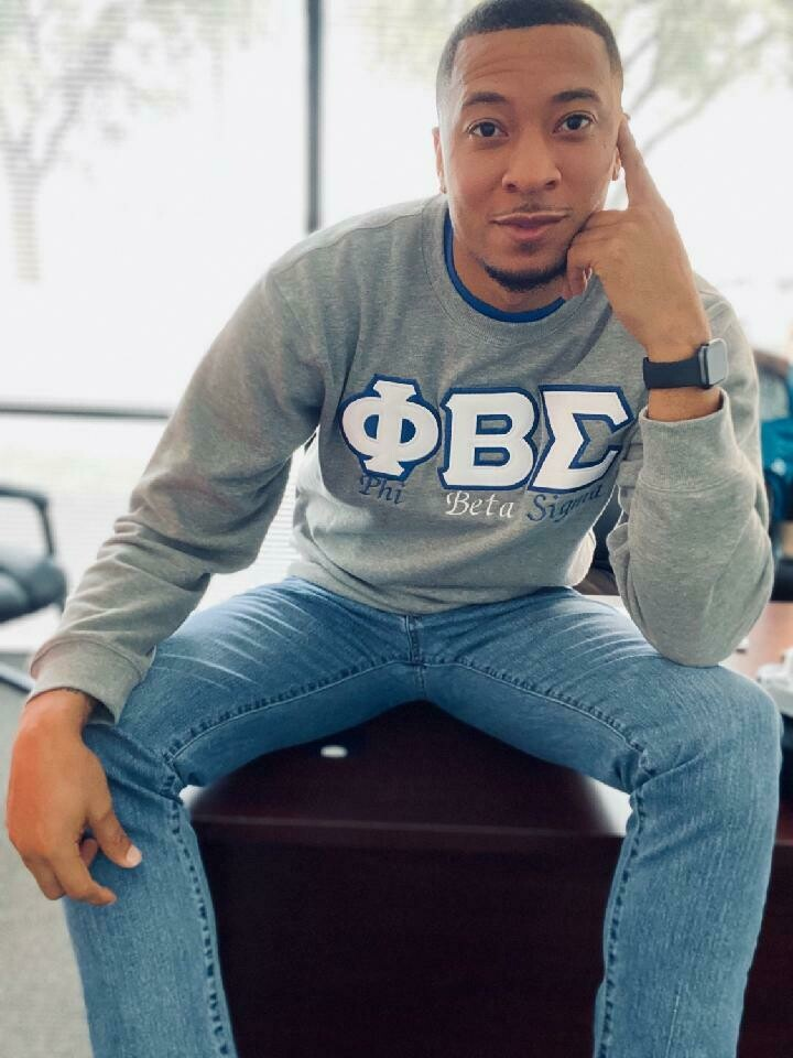 (Grey) Phi Beta Sigma Embroidered Twill Letter Crew Neck Sweatshirt