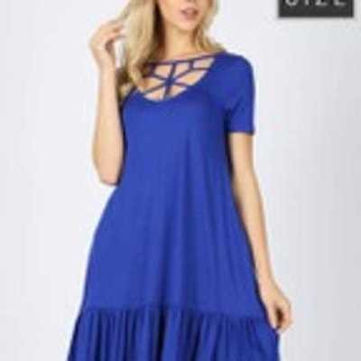 Bamboo Plus Size Short Sleeve Web Detail Front Ruffle Dress W/Pockets