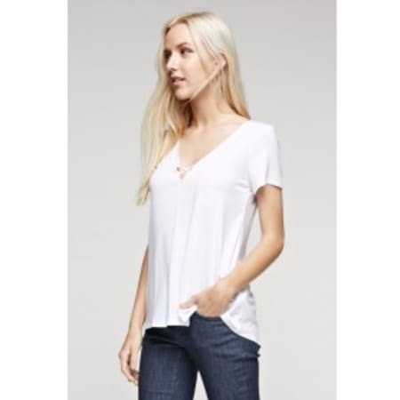Criss-Cross V-Neck Short Sleeve Top