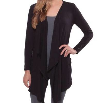 Women's Bamboo Draped Front Cardigan