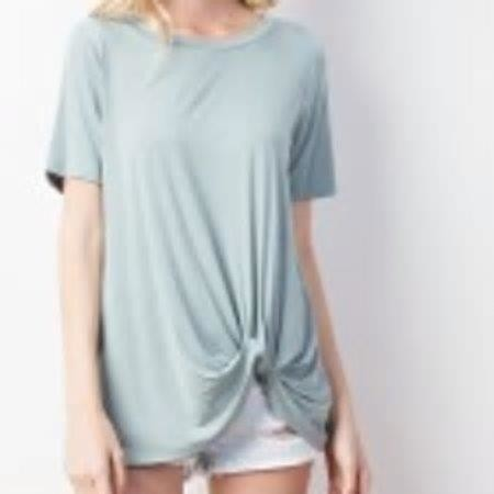 Bamboo Twisted Hem Short Sleeve Top