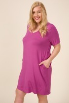 Bamboo V-Neck Short Sleeve Dress W/pockets