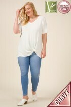 Bamboo Plus Size V-Neck Twisted Side Top